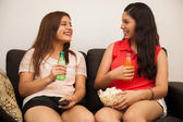 Teens hanging out at home — Stock Photo