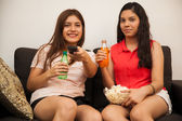 Friends watching a movie — Stock Photo