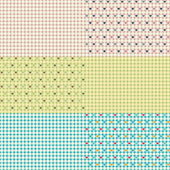 Set of 6 Polka Dot Heart Seamless Patterns — Stock Vector