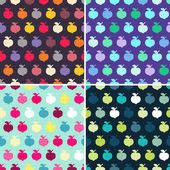 Set of 4 seamless patterns with colorful cartoon apples — Stock Vector