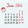 Royalty-Free Stock Vector Image: Calendar 2013 june in sketch style
