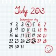 Calendar 2013 july in sketch style — Stock Vector