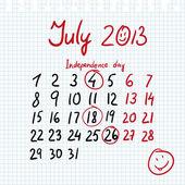 Calendar 2013 july in sketch style — Stock vektor