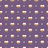 Cupcake seamless vector pattern. — Stock Vector