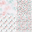 4 seamless patterns in pink, turquoise and grey — Stock Vector