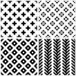 Stock Vector: Set of 4 monochrome geometric seamless patterns.