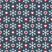 Seamless pattern with snowflakes and hearts — Stock Vector