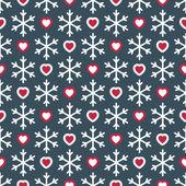 Patrones sin fisuras con los copos de nieve y corazones — Vector de stock