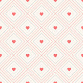 Geometric seamless pattern with rhombus and hearts — ストックベクタ