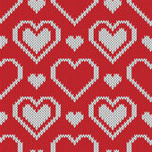 Seamless knitted sweater pattern with hearts — Vecteur