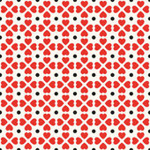 Seamless geometric pattern with hearts and dots. — Stock Vector