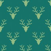 Knitted sweater with deer seamless pattern — ストックベクタ