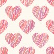 Seamless pattern with wavy hearts. — Stock Vector