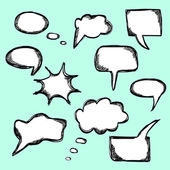 Set of hand drawn vector comical speech bubbles — Stock Vector