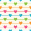 Vector seamless retro pattern with hearts — Vector de stock