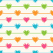 Vector seamless retro pattern with hearts — ストックベクタ