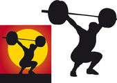 Weightlifter silhouette on a white background — Stock Photo