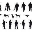 Vetorial Stock : Hunter with dog hunting animals in the forest - black and white silhouette