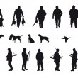Hunter with dog hunting animals in the forest - black and white silhouette — Vector de stock