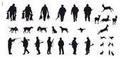 Hunter with dog hunting animals in the forest - black and white silhouette — Stock Vector