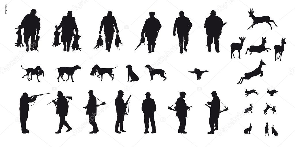 Chasseur avec animaux de chasse du chien à la silhouette ...