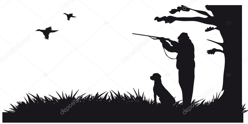 Motive hunting of animals and landscapes — Stock Vector #16960497