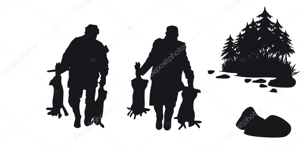 Motive hunting of animals and landscapes — Stock Vector #16960503