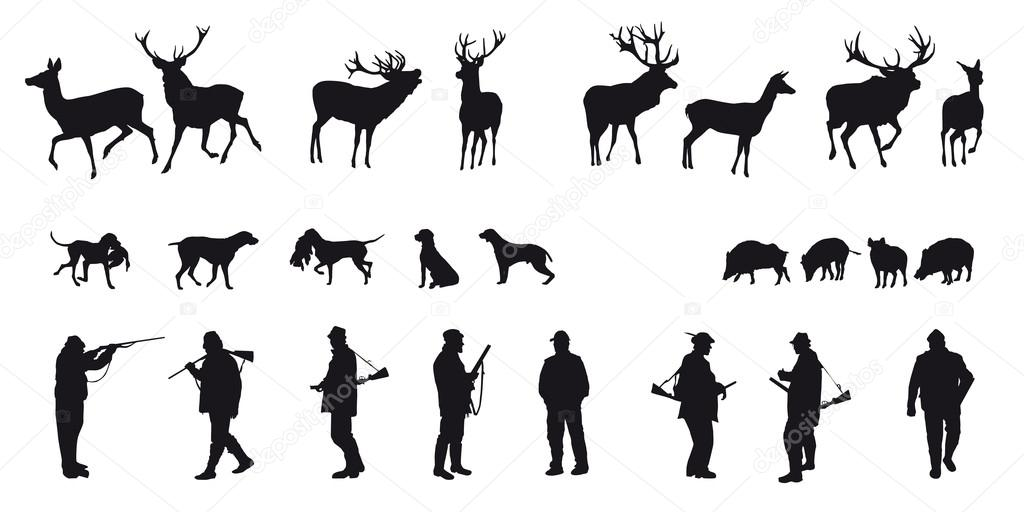 Motive hunting of animals and landscapes — Imagen vectorial #16960551