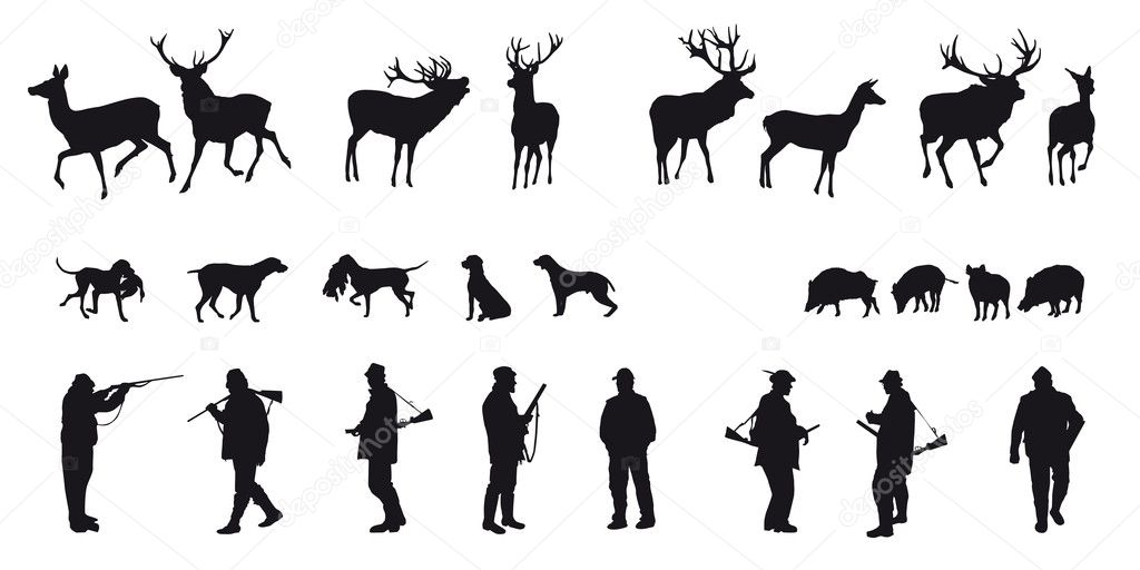 Motive hunting of animals and landscapes  Grafika wektorowa #16960551