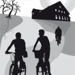 Silhouette of people - cyclists on vacation - recreation — Stock Photo #28160973