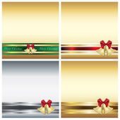Christmas greeting card with ribbon — Stock Photo
