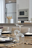 Dinner gable in the kitchen — Stock Photo