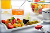 Fruit salad and breakfast — Stock Photo