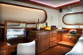 Bedroom of luxury yacht — Stock Photo