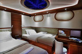Bedroom of luxury yacht — Stok fotoğraf