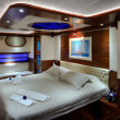 Bedroom of luxury sailboat — Stock Photo
