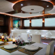 Lounge and dinner room of luxury yacht — Foto de Stock