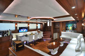 Lounge and dinner room of luxury yacht — Foto Stock
