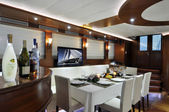 Lounge and dinner room of luxury yacht — Photo