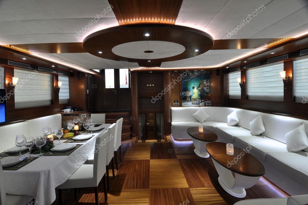 Sala De Estar E Jantar Luxo ~ Quarto sala de estar e jantar de iate de luxo — Fotografia de Stock
