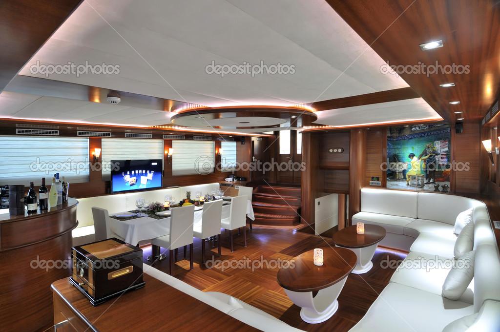 Cozinha Com Sala De Jantar De Luxo ~ Quarto sala de estar e jantar de iate de luxo — Fotografia de Stock