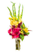 Colorful flower bouquet arrangement centerpiece from gladioluses — Stock Photo