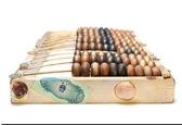 Abstract composition from the old wooden abacus, coins and shell — Stock Photo
