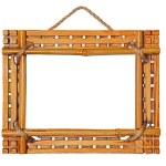 Bamboo photo frame isolated on white background — Stock Photo