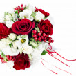 Colorful flower wedding bouquet for bride isolated on white back — Stock Photo