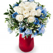 Colorful floral bouquet from white roses and delphinium centerpi — Stock Photo #13721443