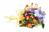 Colorful floral bouquet of roses, lilies, freesia, orchids and — Zdjęcie stockowe