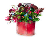 Colorful abstract floral arrangement of roses, lilies, irises an — Stock Photo
