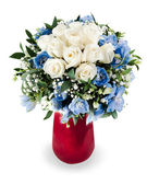 Colorful floral bouquet from white roses and delphinium centerpi — Stock Photo