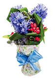 Colorful bouquet from hyacinth arrangement centerpiece isolated — Stock Photo